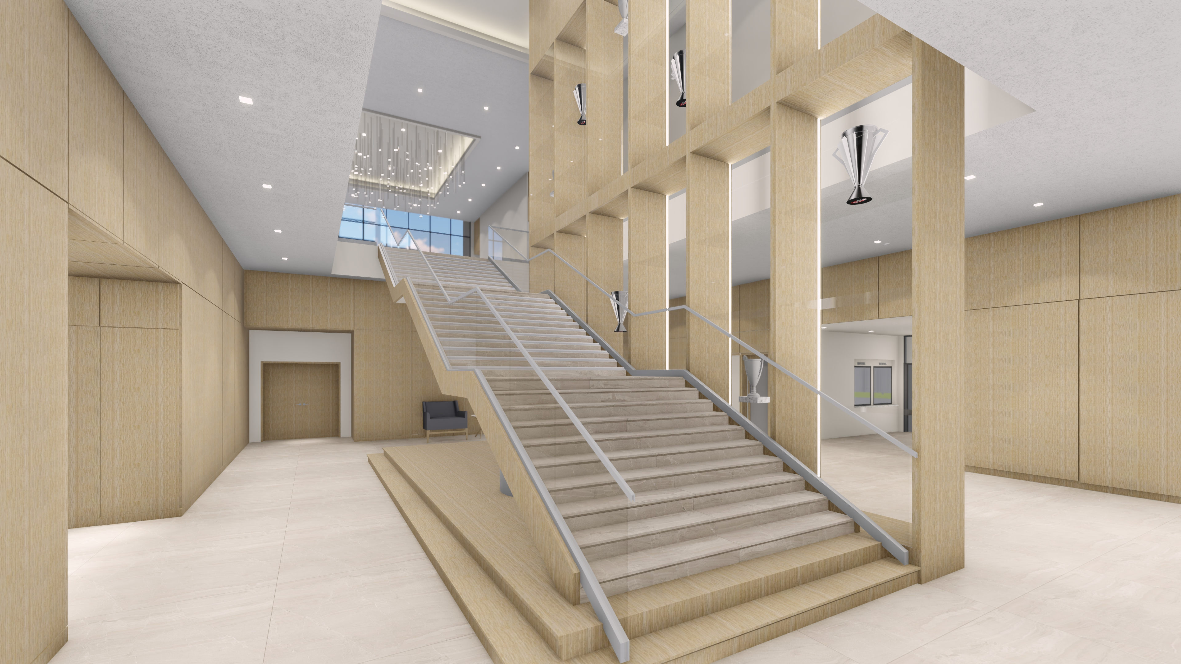 RLG Highland Park High School Downstairs Grand Stair View_Left