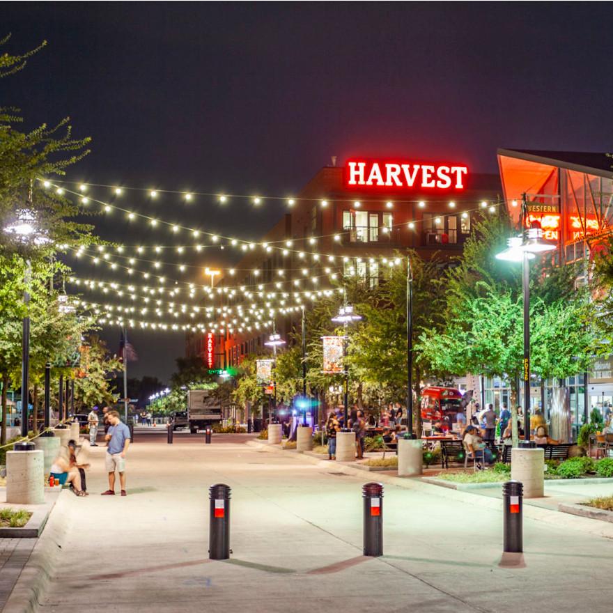 RLG Dallas Farmers Market - Harvest Lofts at Night with string lights